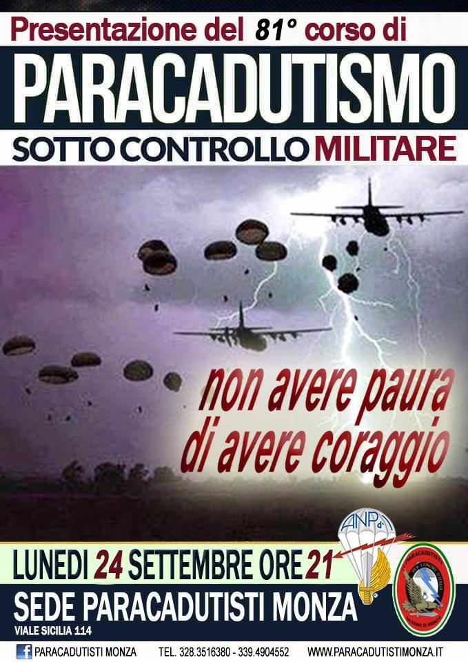 Presentazione del 81° corso di paracadutismo sotto controllo militare