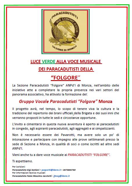 "Gruppo Vocale Paracadutisti ""Folgore"" Monza"